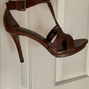Classiques Entier brown leather braided heel